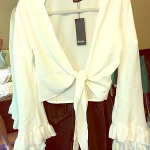 NWT Nastygal tie front frill sleeve blouse sz S(4)